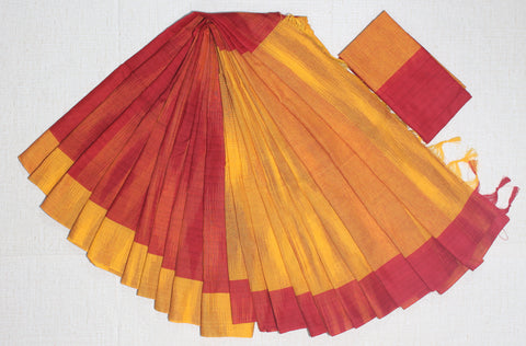 STKD11-handloom khadi ikkat cotton half and half saree with blouse
