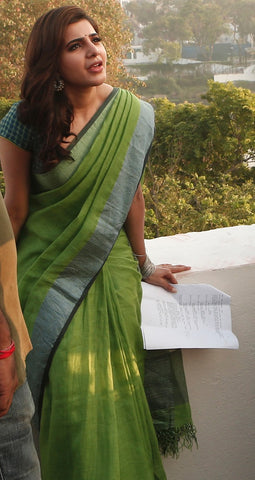 original green linen saree Lydiaspurple