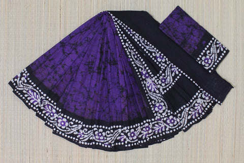 Batik malmal cotton saree - lydiaspurple