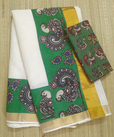 KCGFB02-Kalamkari patch work on kerala cotton saree with kalamkari border and kalamkari blouse and running blouse