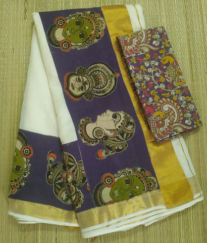 KCPFB01-Kalamkari patch work on kerala cotton saree with kalamkari border and kalamkari blouse and running blouse
