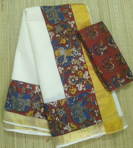 KCRFB01-Kalamkari patch work on kerala cotton saree with kalamkari border and kalamkari blouse and running blouse