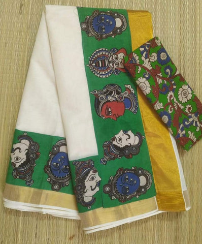 KCGFB01-Kalamkari patch work on kerala cotton saree with kalamkari border and kalamkari blouse and running blouse