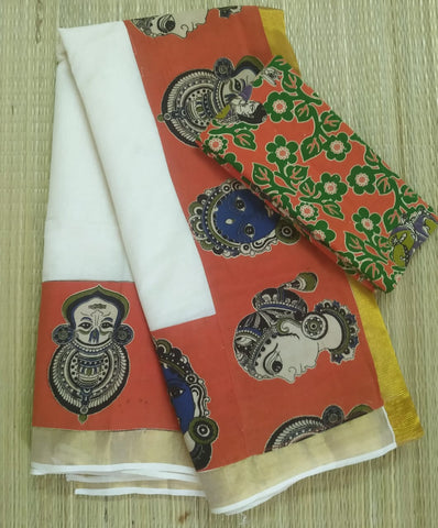 KCOFB01-Kalamkari patch work on kerala cotton saree with kalamkari border and kalamkari blouse and running blouse