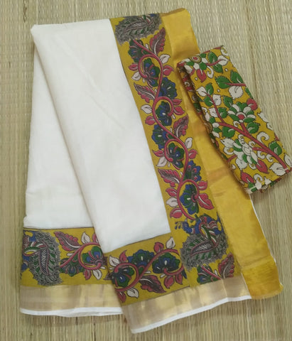 KCYFB02-Kalamkari patch work on kerala cotton saree with kalamkari border and kalamkari blouse and running blouse