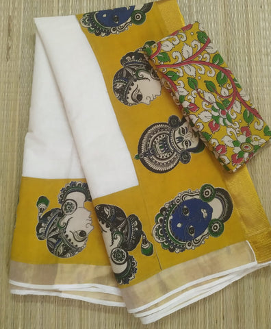 KCYFB01-Kalamkari patch work on kerala cotton saree with kalamkari border and kalamkari blouse and running blouse