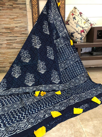 LPIS 92- baghru  printed malmal  indigo cotton saree with blouse