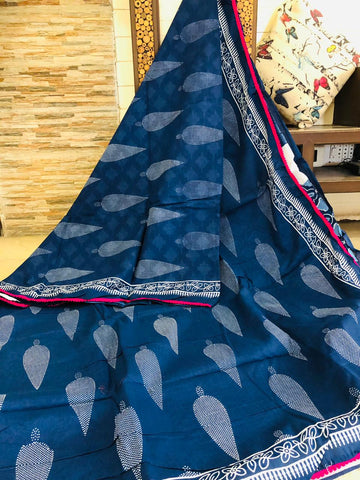 LPIS 95- baghru  printed malmal  indigo cotton saree with blouse