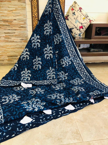 LPIS 94- baghru  printed malmal  indigo cotton saree with blouse