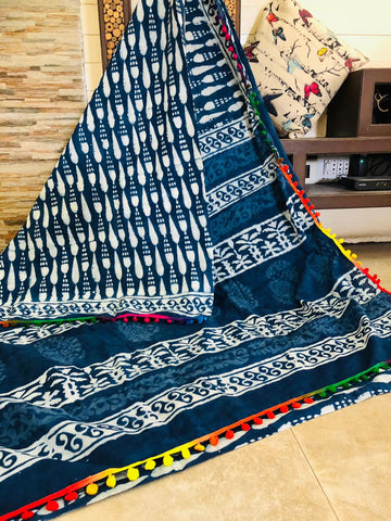 LPIS 91- baghru  printed malmal  indigo cotton saree with blouse