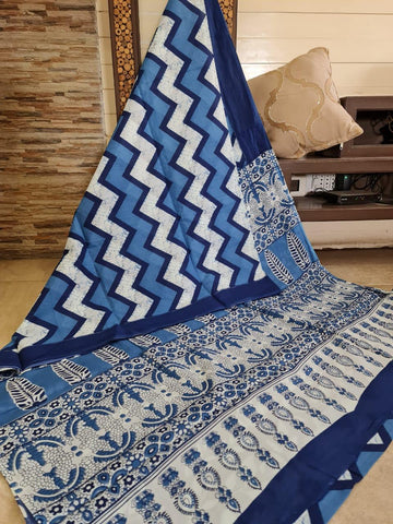 LPIS96- baghru block printed indigo malmal cotton saree