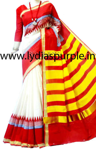 KHPDRYW01-Kerala hand block print RED,yellow and WHITE saree - LydiasPurple