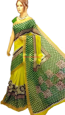 KHBYG06-Kerala hand block print yellow and green saree - LydiasPurple