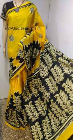 HBCMY-hand bathik cotton malmal yellow & black saree - LydiasPurple