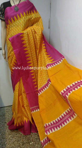 HBCMYP-hand bathik cotton malmal yellow and pink saree - LydiasPurple