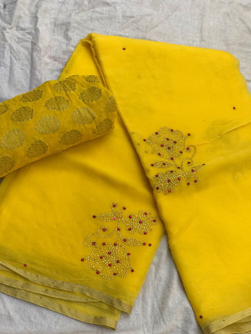 chiffon yellow panwari work saree - lydiaspurple