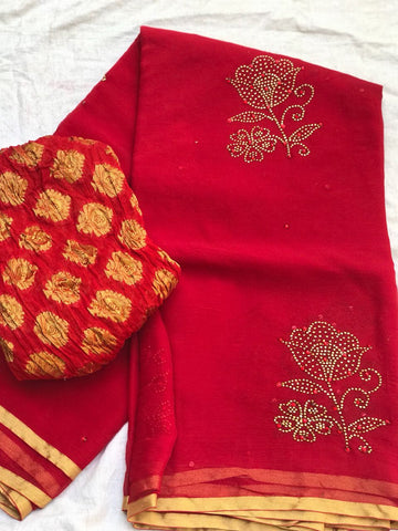 GSWBCR01- pure chiffon  red  panwari work designer saree with red blouse