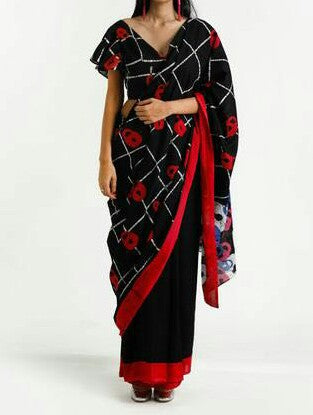 KPBRMCS01-black and red hand bathik cotton saree with designer blouse