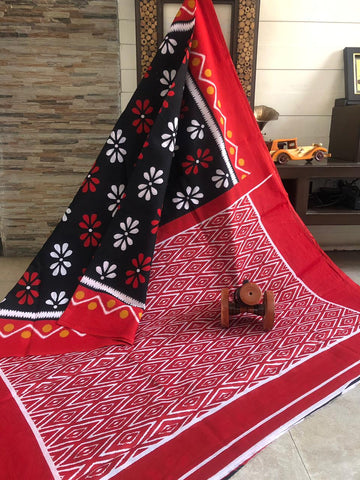 RKRBIP01-black and red ikkat printed,malmal cotton saree with designer blouse