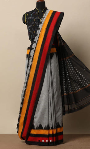 RKGBIMC-grey colour ikkat printed,malmal cotton saree with designer blouse