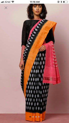 RKMCIP01-multi colour ikkat printed,malmal cotton saree with designer blouse