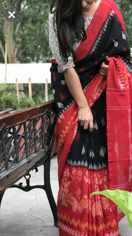 RKRBIP02-black and red ikkat printed,malmal cotton saree with designer blouse
