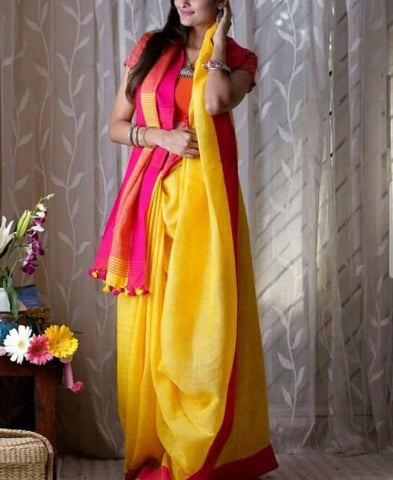 BYPLS- yellow and pink linen saree with  running blouse
