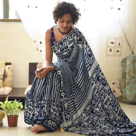KTIMCS01-  indigo malmal cotton saree with printed blouse