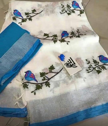 BSWSBBLS-  white and  parrot green bird on tree embroidered linen saree with silver zari border and contrast blouse