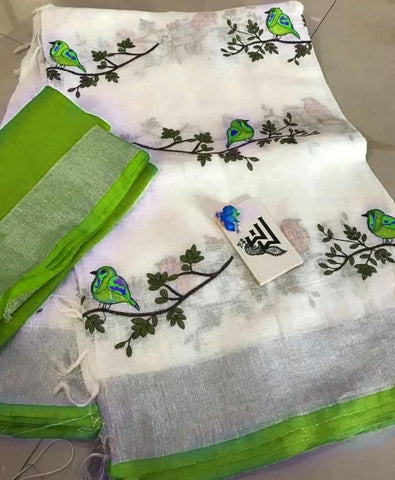 BSWMGBLS-  White and mehendi green bird on tree embroidered linen saree with silver zari border and contrast blouse