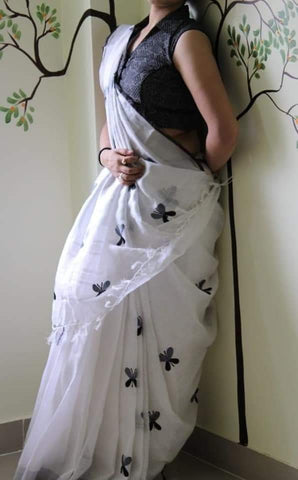 BSWBBLS-  White and black butterfly embroidered linen saree with silver zari border and contrast blouse