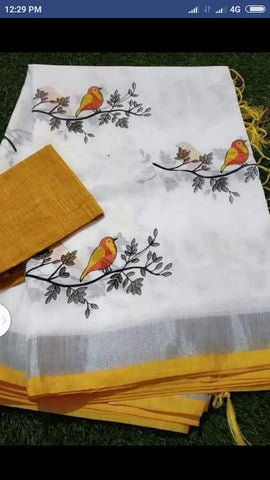 BSWMYBLS-  White and mustard yellow bird on tree embroidered linen saree with silver zari border and contrast blouse