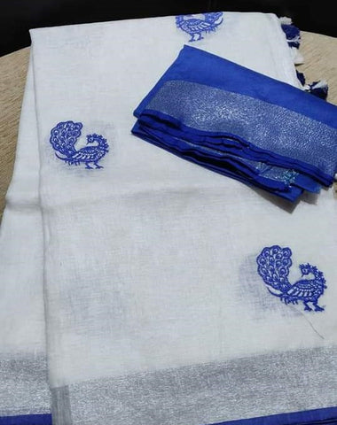 BSWBPLS-  white and blue embroidered linen saree with silver zari border and contrast blouse