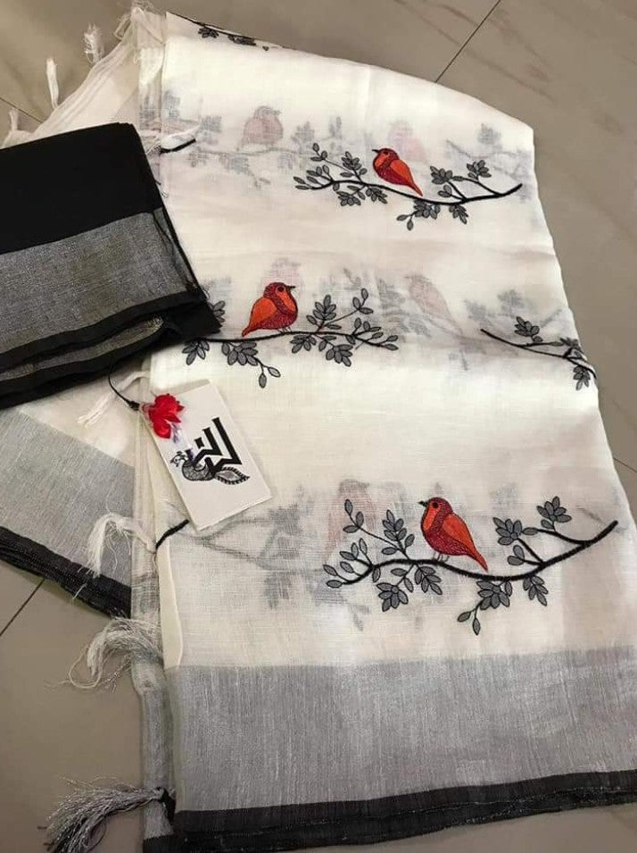 5f8c1eece1f50 ... white bird on tree embroidered linen saree with silver zari border and.  prev