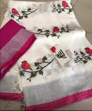 BSWPBLS- white and pink bird on tree embroidered linen saree with silver zari border and contrast blouse