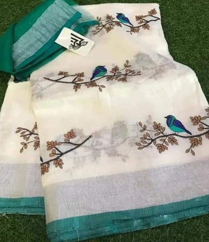BSWGBLS-  white and green bird on tree embroidered linen saree with silver zari border and contrast blouse
