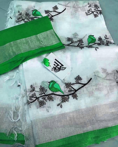 BSWPGBLS-  white and  parrot green bird on tree embroidered linen saree with silver zari border and contrast blouse