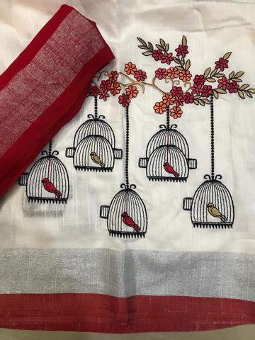 BSWPBLS-  White and pink bird in cage embroidered linen saree with silver zari border and contrast blouse