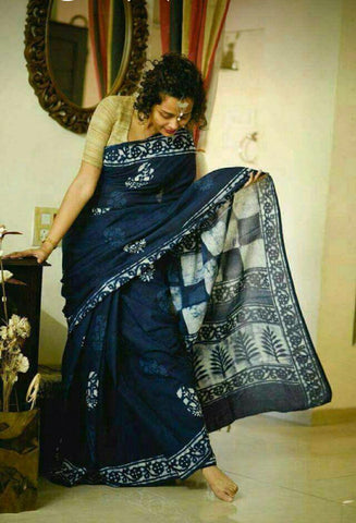LPIS65- Block printed indigo malmal cotton saree with printed blouse