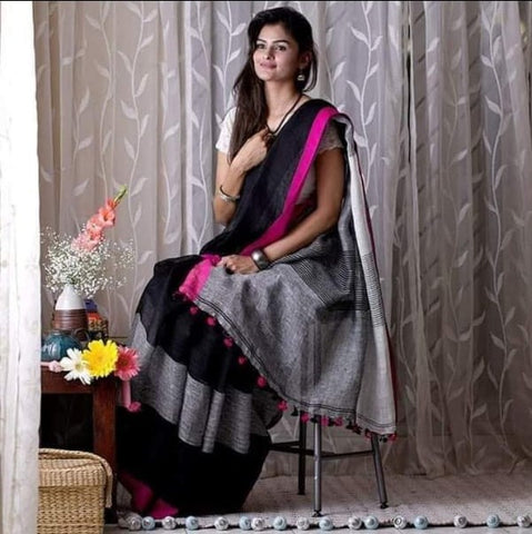BGBP01-grey,black and pink linen saree with  running blouse