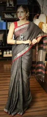 BGSZLS- Grey linen saree with silver zari border and contrast blouse