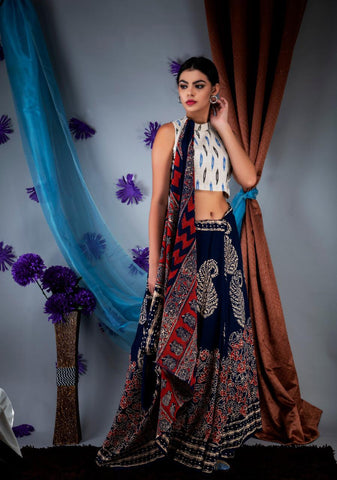 DAMCS01-designer ajrakh printed  malmal cotton saree with designer blouse
