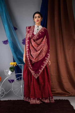 DAMCS02-designer ajrakh printed  malmal cotton saree with designer blouse