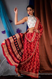 DAMCS03-designer ajrakh printed  malmal cotton saree with designer blouse