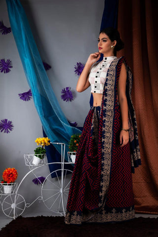 DAMCS04-designer ajrakh printed  malmal cotton saree with designer blouse
