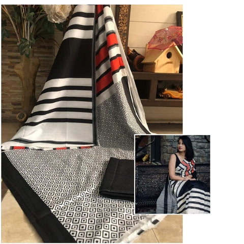 DBWR01-designer black white and red malmal cotton saree with black blouse