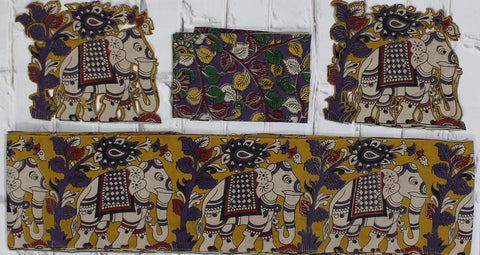 YPEBBSET-Kalamkari patch set  for saree with border,blouse and patches