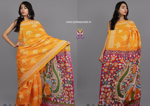 LPYU01- baghru block printed malmal cotton saree with kalamkari pallu - Lydiaspurple
