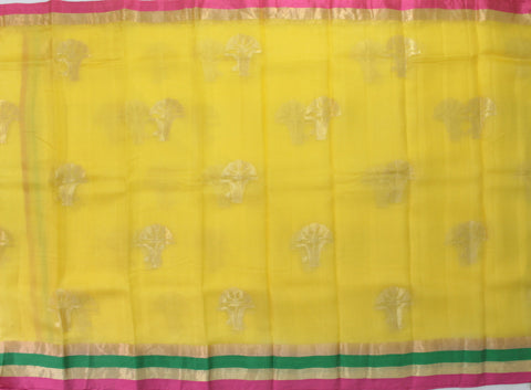 IKSY-MANGO YELLOW kota SILK saree with zari butta and satin zari border - LydiasPurple