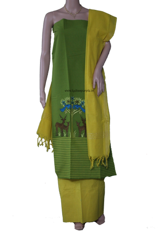 parrot green South cotton Embroidery Handloom dress material  by Lydiaspurple